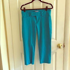 Lilly Pulitzer teal skinny crop Capri pants.